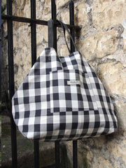 Mama B Check Black and White Bag