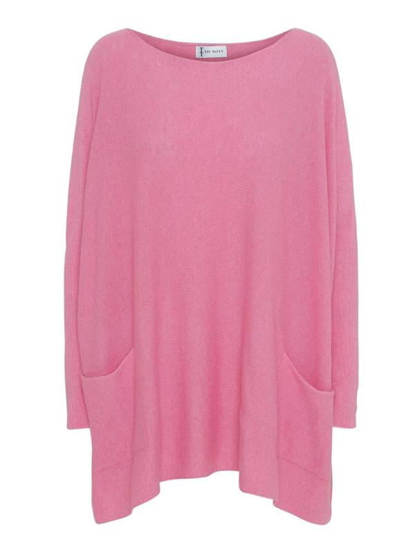 Merino Wool Batwing Jumper in Soft Pink
