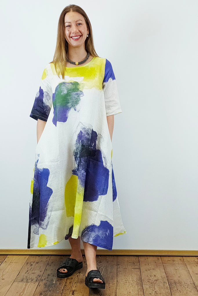 THANNY Linen Floral Dress