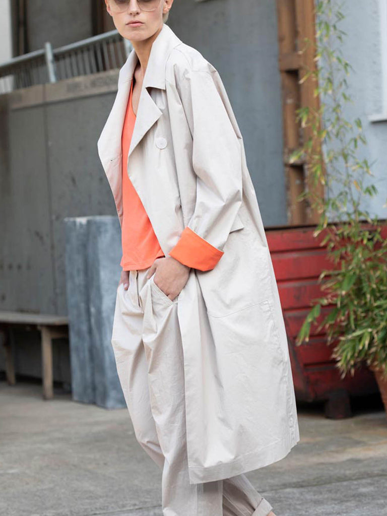 Ania Schierholt Trench Coat with Coral Flashes