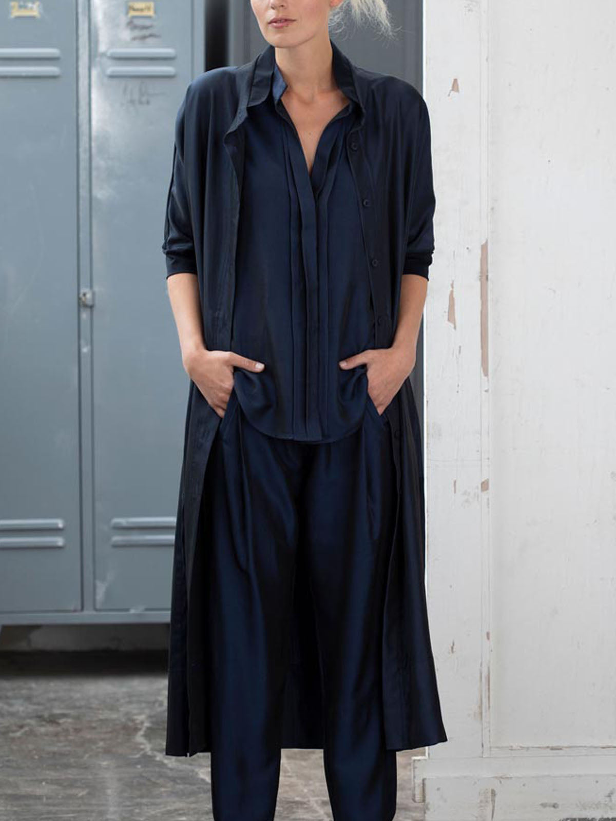 Ania Schierholt Long Blouse in Contrast Fabrics - Navy Blue, Shirts, Ania Schierholt, Blue Women - Blue Women's Clothing