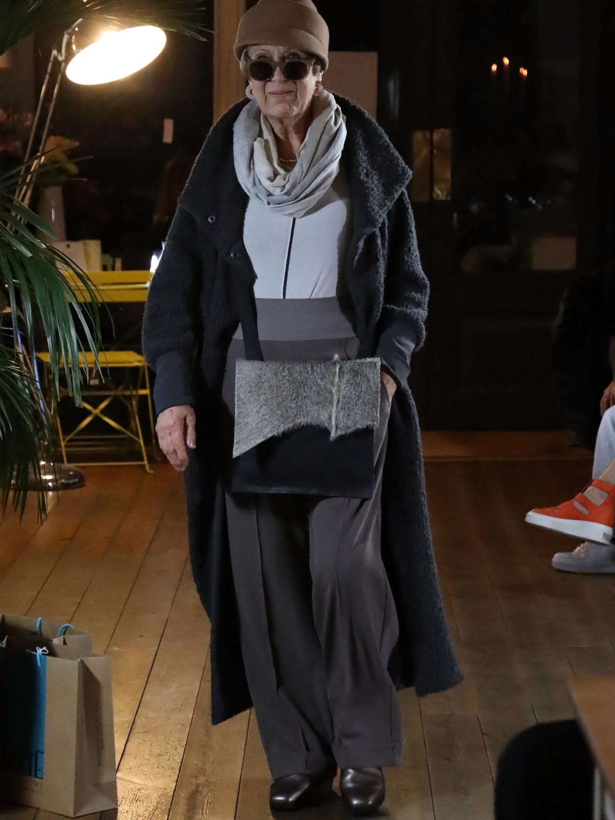 Ania Schierholt Long Cardigan in Black or Brown/Grey