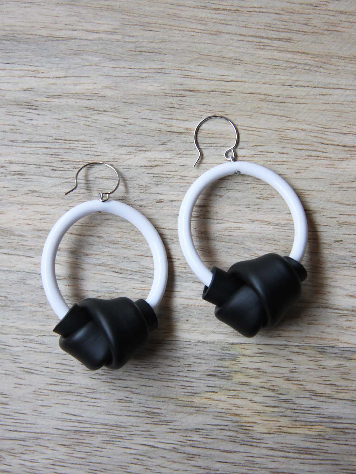 Samuel Coraux Hoops Earrings - Black and White, Accessories, Samuel Coraux, Blue Women - Blue Women's Clothing