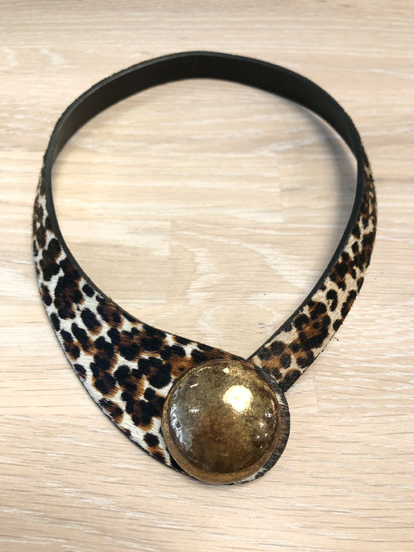 Ceraselle Hide and Ceramic Fusion Necklace in ANIMAL PRINT