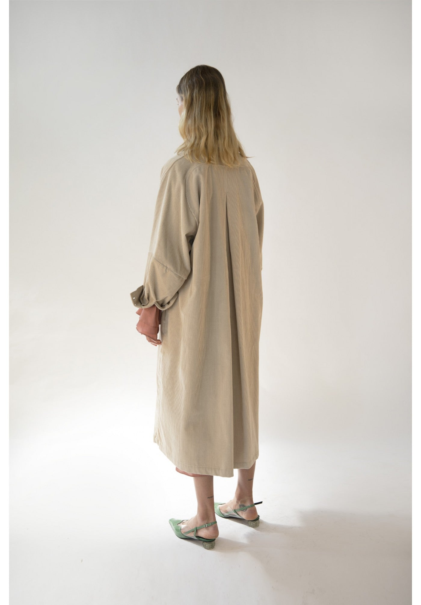Emin + Paul Oversized Cream Corduroy Coat, Coats, Emin + Paul, Blue Women - Blue Women's Clothing