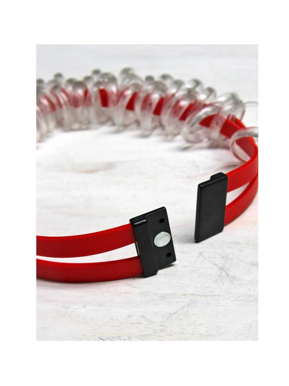 Clear Glass Hoops on Red Rubber Necklace