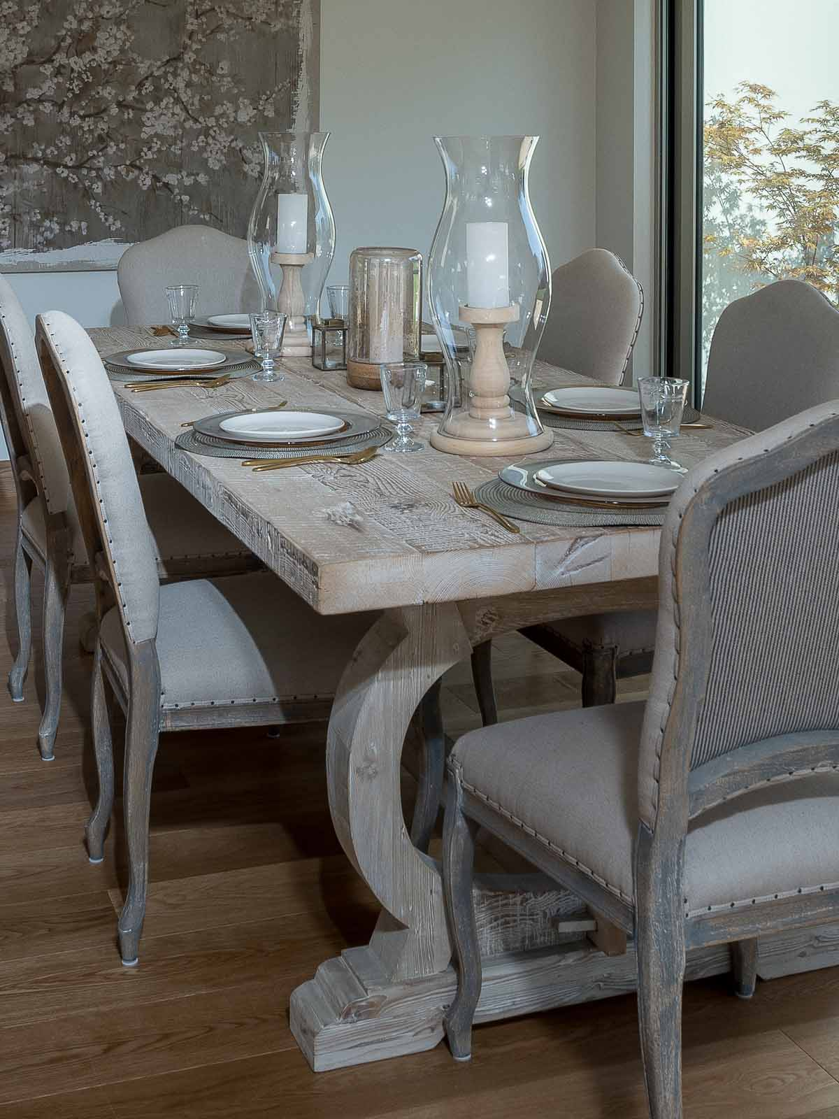 Recycled Pine White Wash Refectory Dining Table