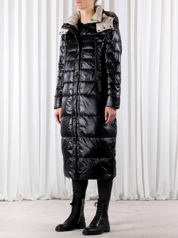 Rino + Pelle Long Padded Coat [Davlin] Black with Cream