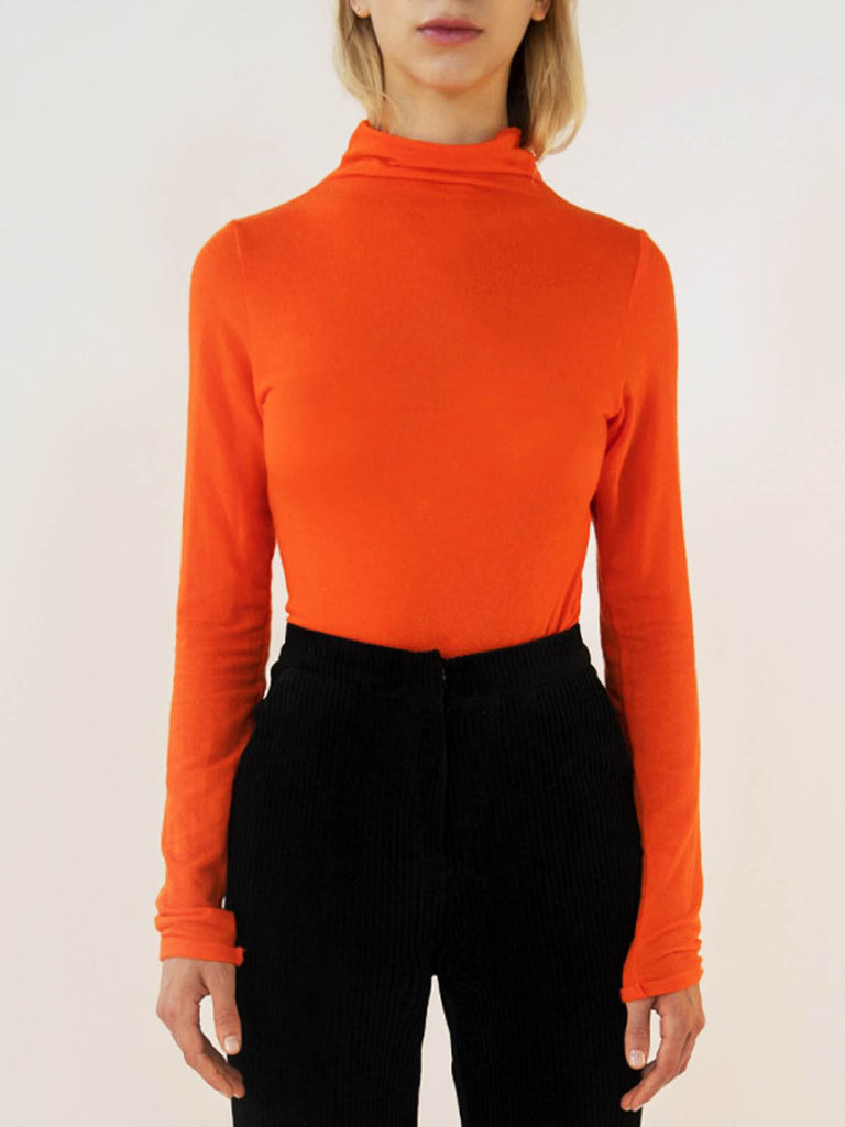 Emin + Paul Long Sleeve Turtleneck Top - Orange, Navy or Black