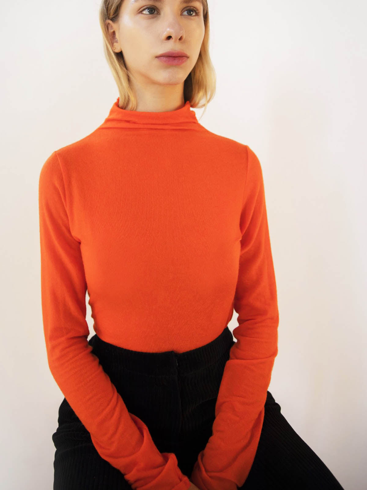 Emin + Paul Long Sleeve Turtleneck Top - Orange, Navy or Black, Tops, Emin + Paul, Blue Women - Blue Women's Clothing