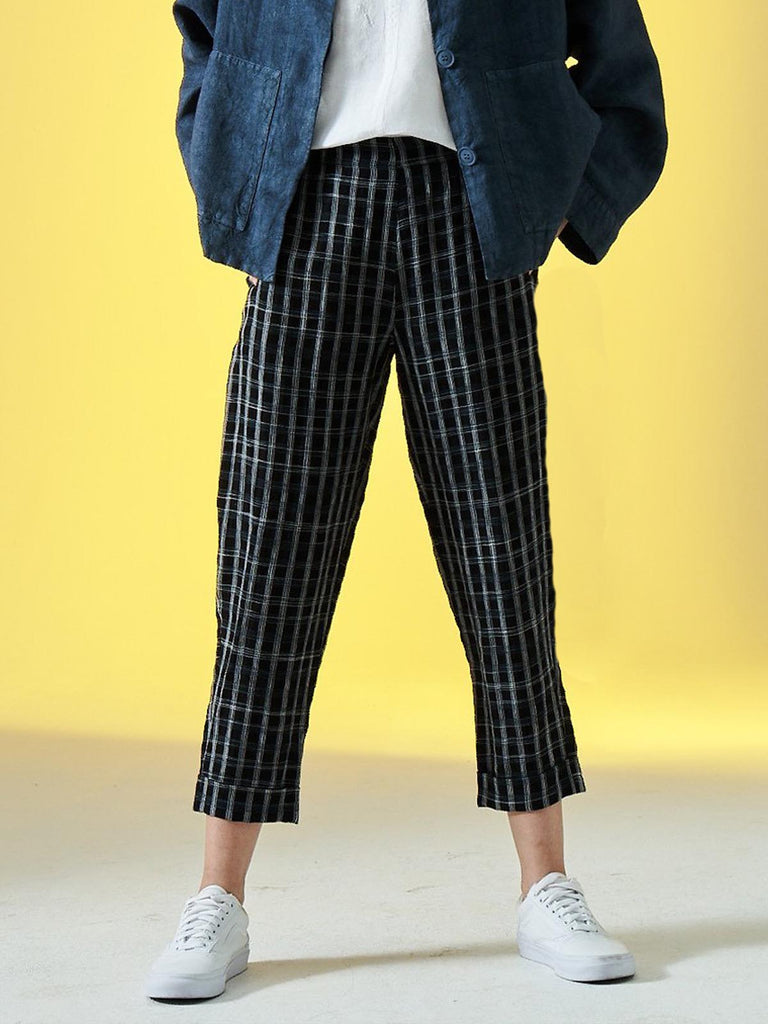 Elemente Clemente Geisha Trousers in Black and White Check
