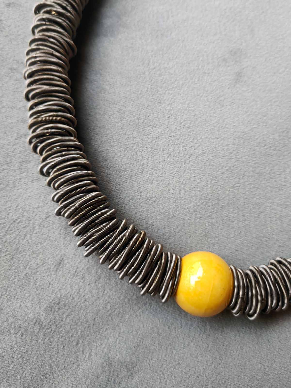 Hoops and Springs Necklace with Gloss Ball