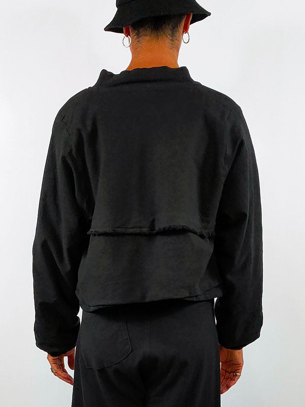 Lurdes Bergada Fleece-Lined Crop Jacket [121] in Black
