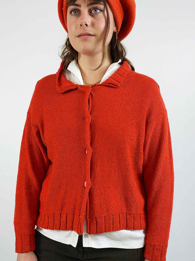 Quernstone Silk & Lambswool Cardigan [FIRTH] in Flame