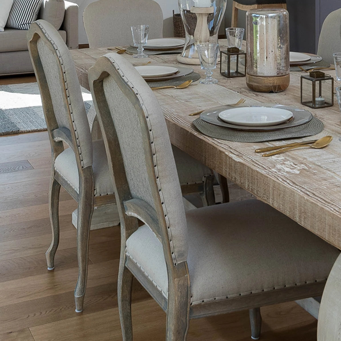 Picture of: French Linen Dining Chair Blue Women