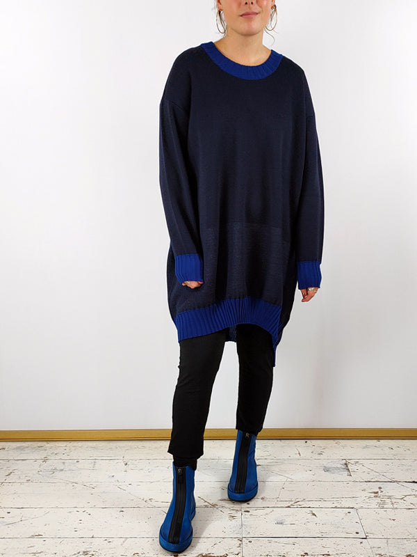 Knit Knit Oversized Jumper Dress [FK5] Navy and Blue