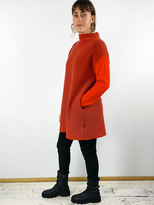 Knit Knit Ribbed Wool Tunic [HK7bis] - Orange and Brown