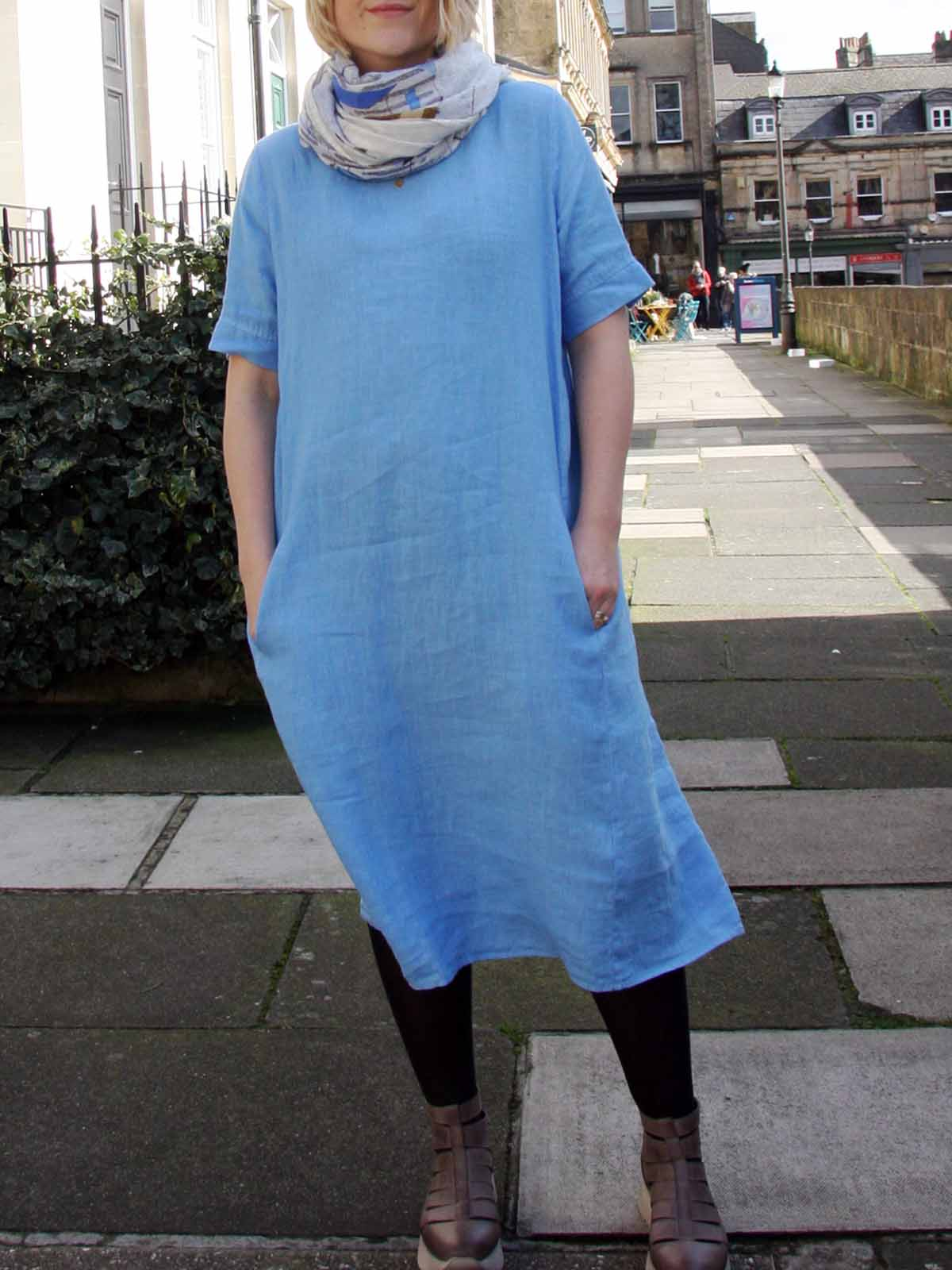 Yellow Label Linen Dress in Blue or L.Turquoise, Dresses, Yellow Label, Blue Women - Blue Women's Clothing