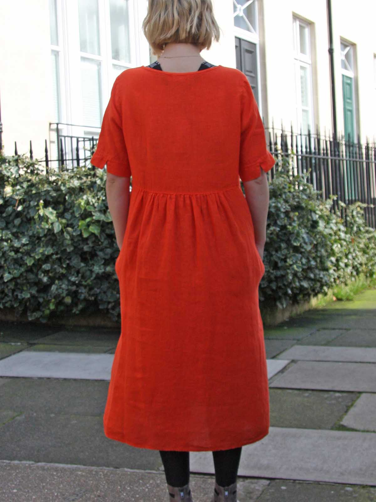 Yellow Label Linen Dress in Orange or Pink, Dresses, Yellow Label, Blue Women - Blue Women's Clothing
