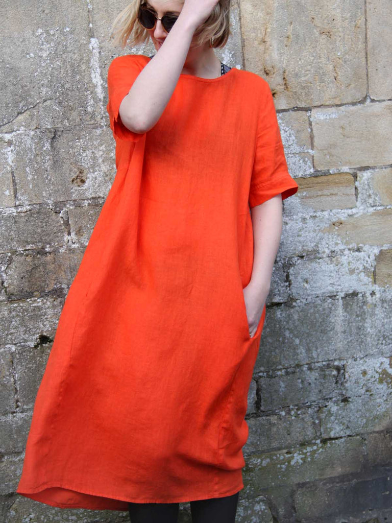 Yellow Label Linen Dress in Orange or Pink