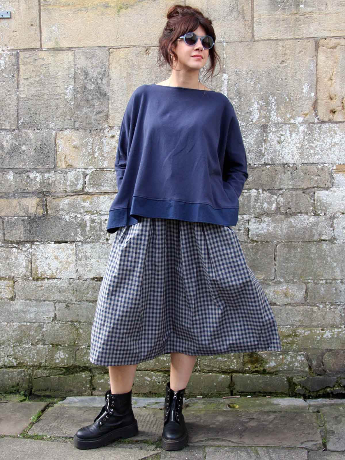 Mama B Check Skirt - Dark, Skirts, Mama B, Blue Women - Blue Women's Clothing