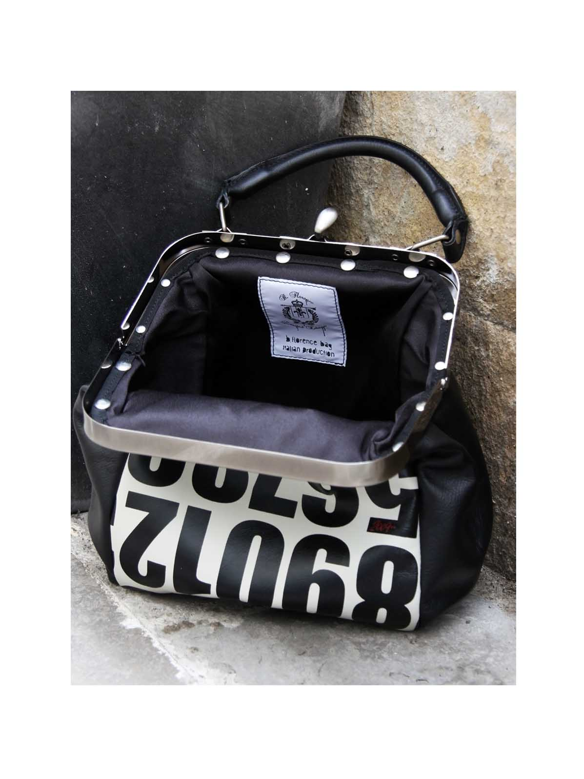 B.Florence Black and White leather handbag with numbers