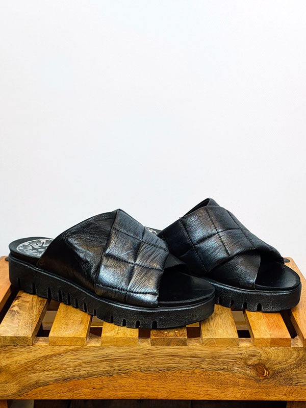 Papucei Quilted 'Sumitra' Slider Sandals in Metallic Silver Black