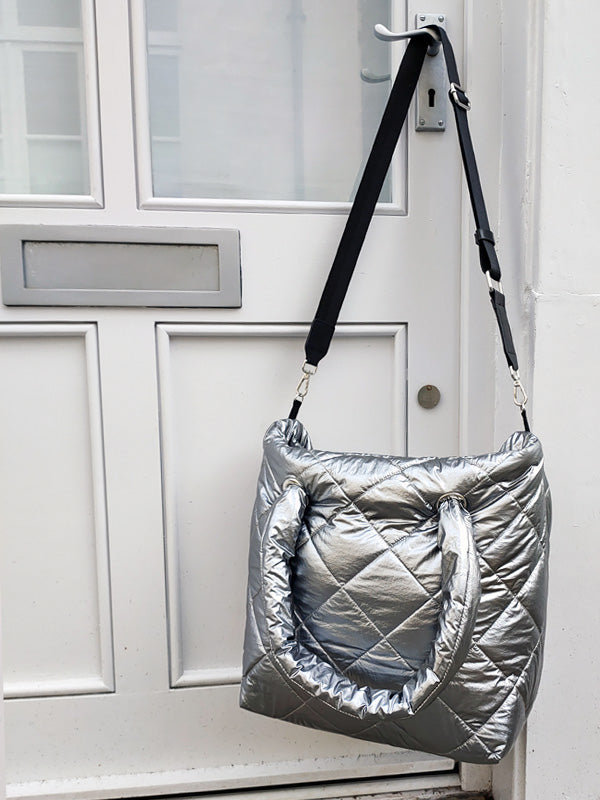 Padded Silver Shoulder Bag