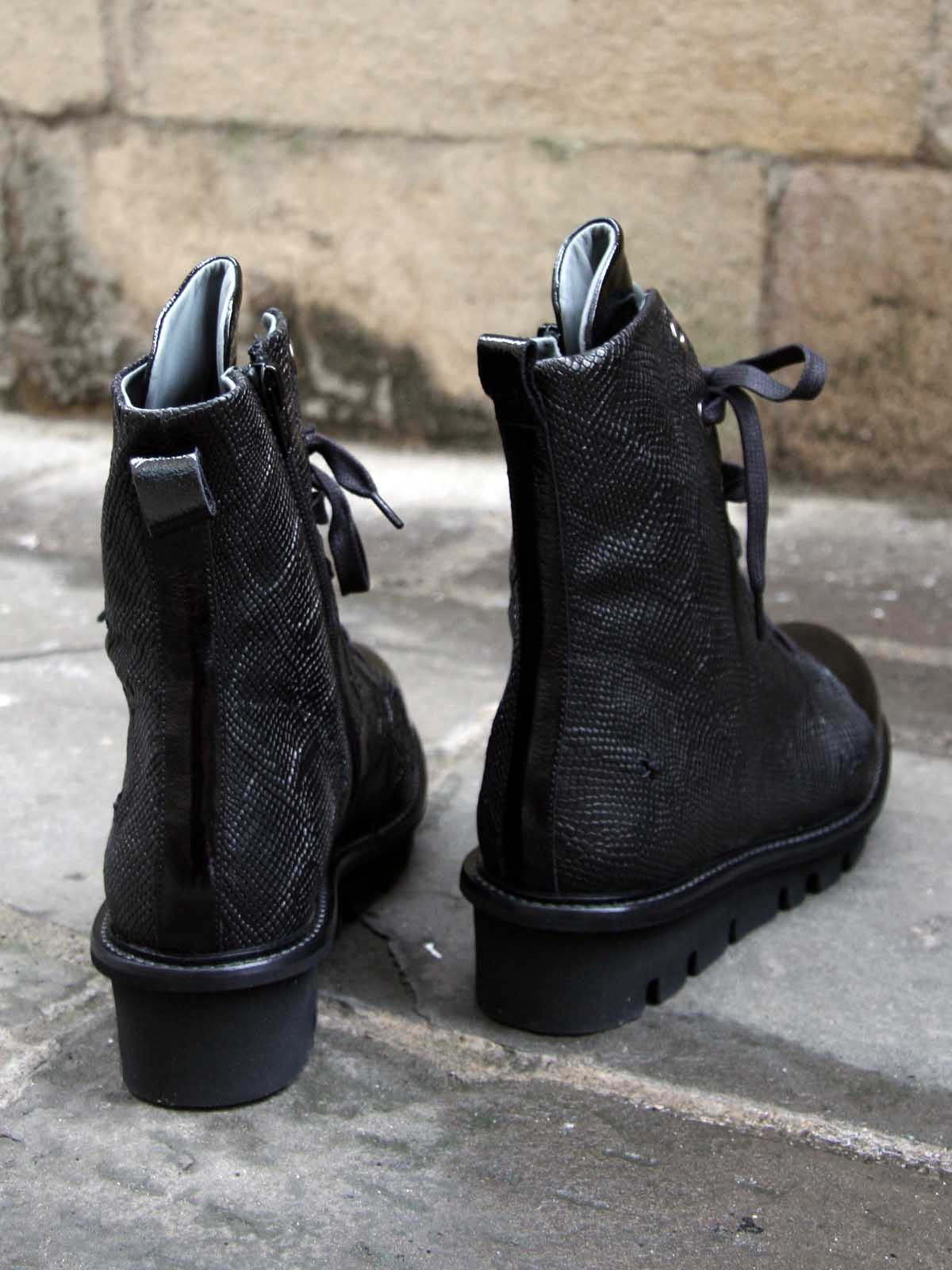 Patrizia Bonfanti Patent and Snake Lace Up Boots