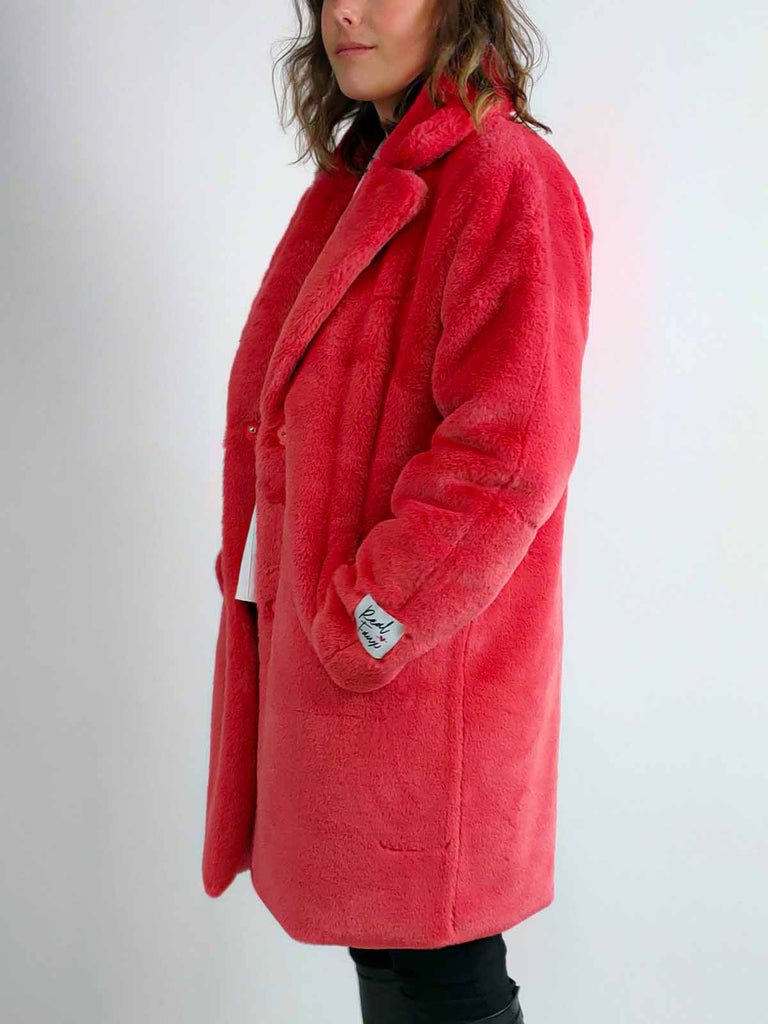 Rino + Pelle Faux Fur Coat [Joela] in Cranberry Pink