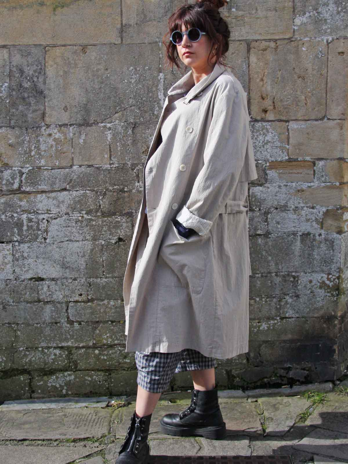 Syngman Cucala Cotton Trench - Sand, Coats, Syngman Cucala, Blue Women - Blue Women's Clothing