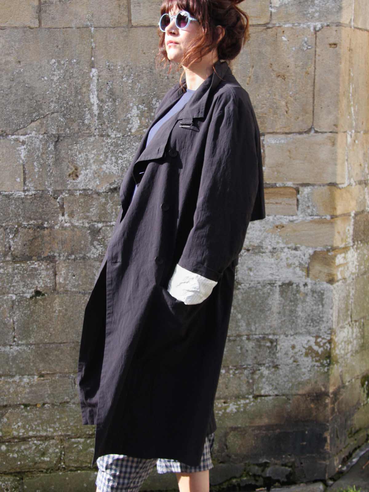 Syngman Cucala Cotton Trench - Dark, Coats, Syngman Cucala, Blue Women - Blue Women's Clothing