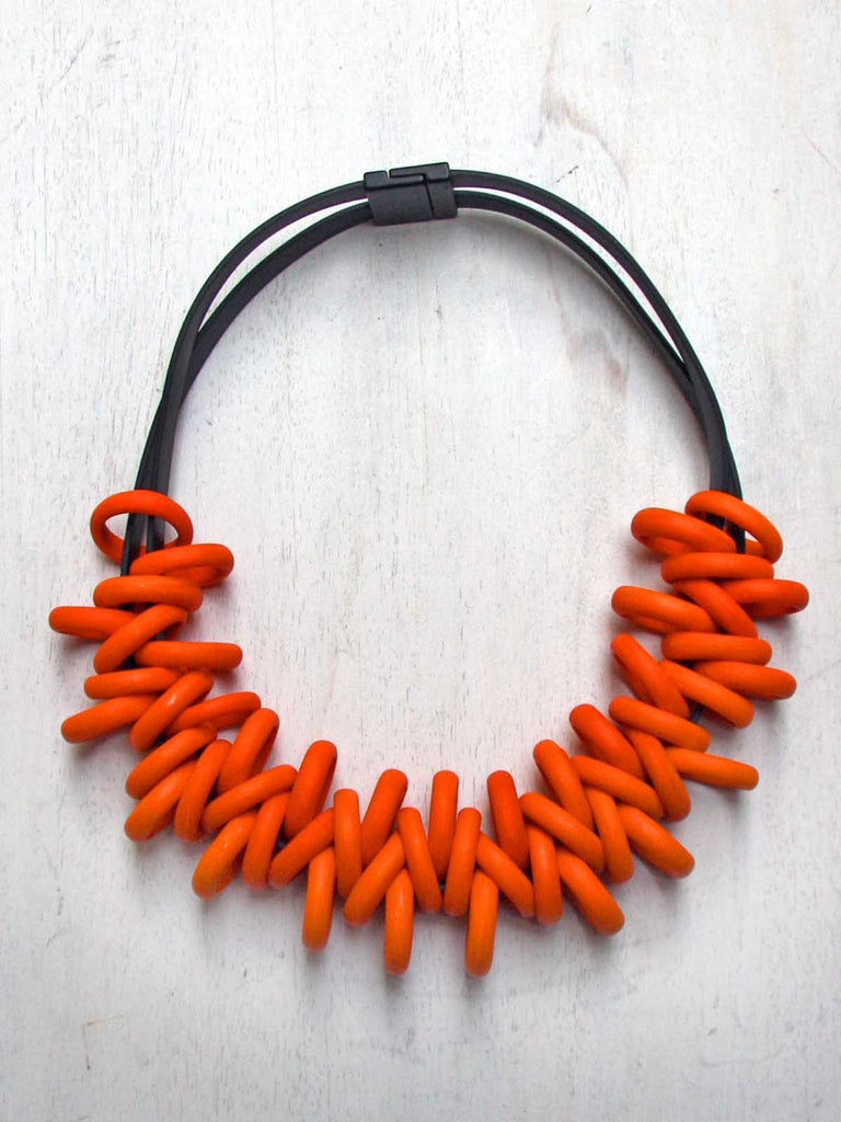 Samuel Coraux Glass Rings Necklace - Bright Orange