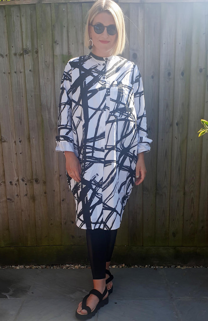 THANNY Patterned Shirt Dress - Monochrome