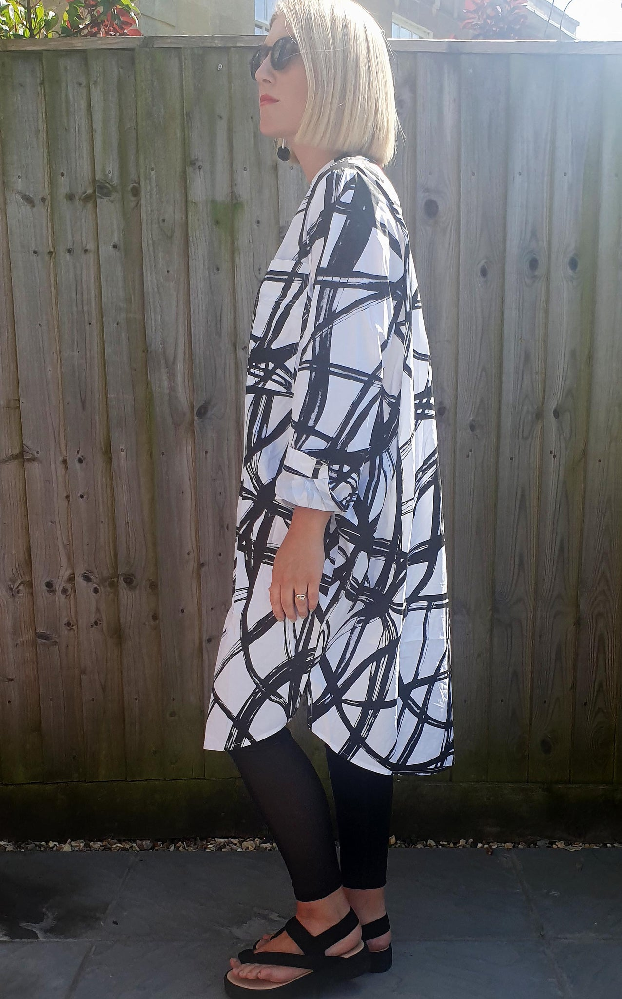 THANNY Patterned Shirt Dress - Monochrome, Dresses, Thanny, Blue Women - Blue Women's Clothing