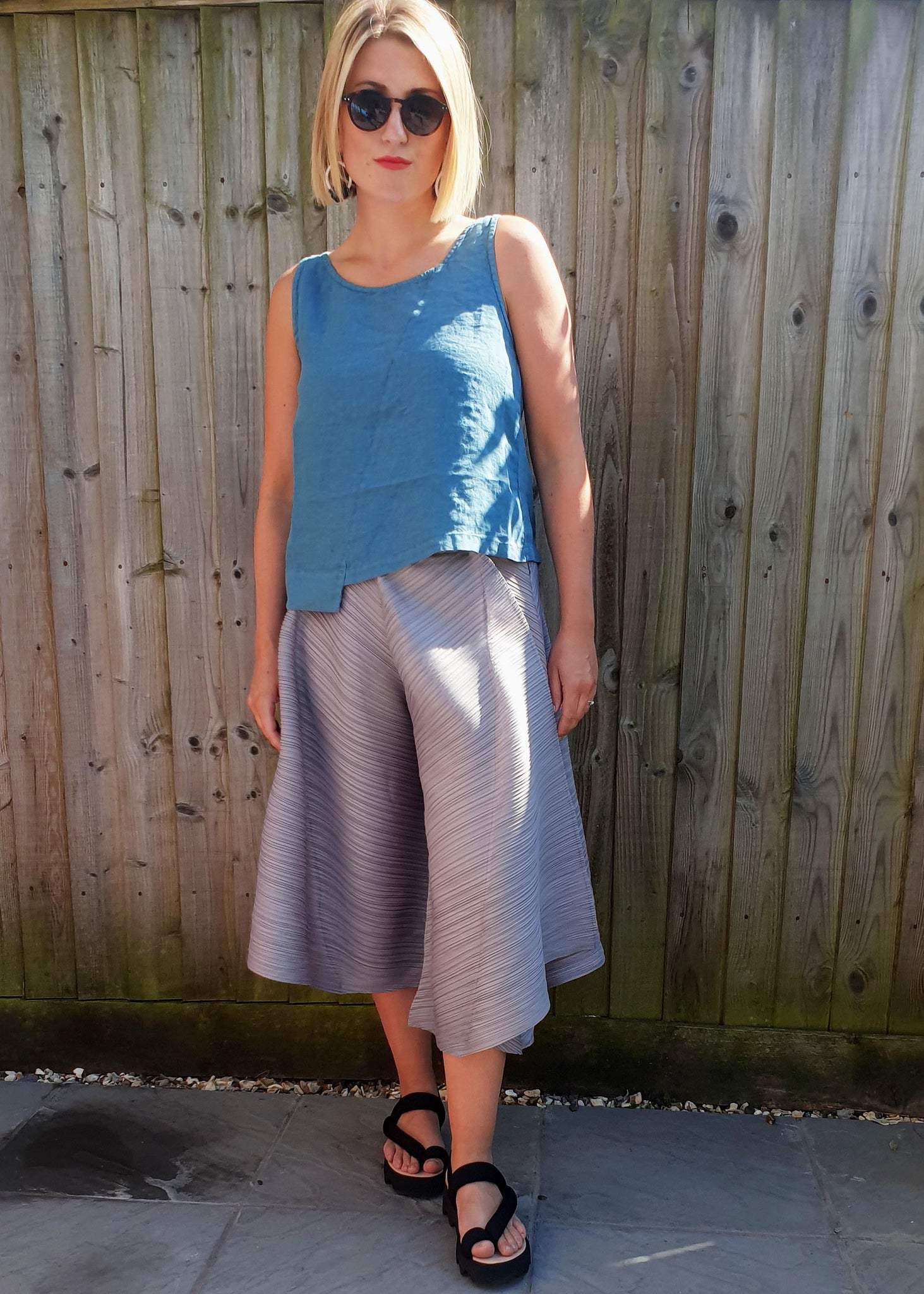 THANNY PLEATED TROUSERS- 2 COLOURS, Trousers, Thanny, Blue Women - Blue Women's Clothing