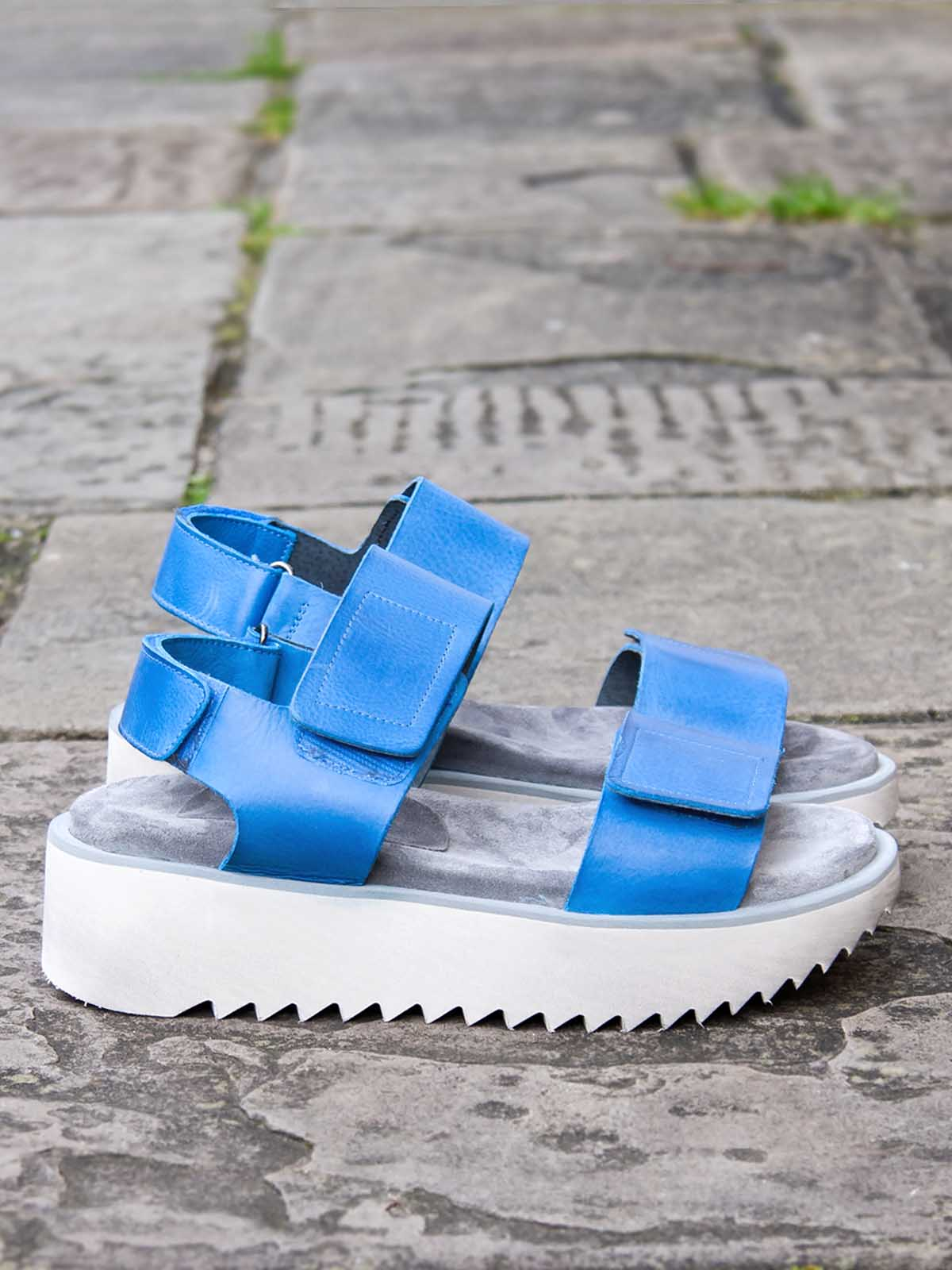 Lofina Chunky Velcro Sandals - Royal Blue, Footwear, Lofina, Blue Women - Blue Women's Clothing