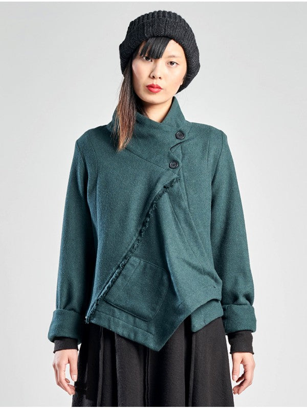 Lurdes Bergada Wool Blend Asymmetric Jacket [543] Two Colours