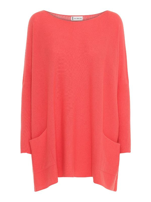 Tif Tiffy Batwing Jumper in Coral - Blue Women