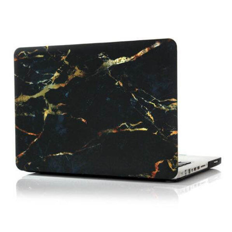 Non Apple Logo Cut Off Black X Gold MacBook Pro Case