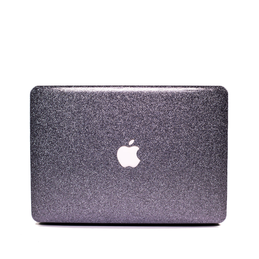 Space Grey Glitter Print Leather Touch MacBook Case