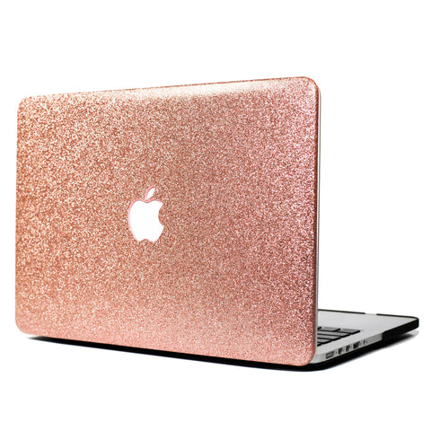 Rose Gold Glitter Print Leather Touch MacBook Case