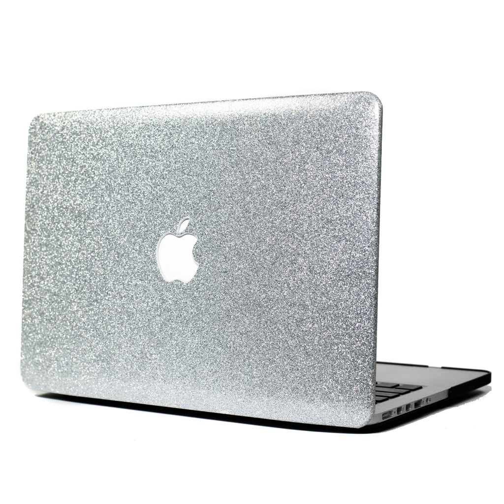 Silver Glitter Print Leather Touch MacBook Case