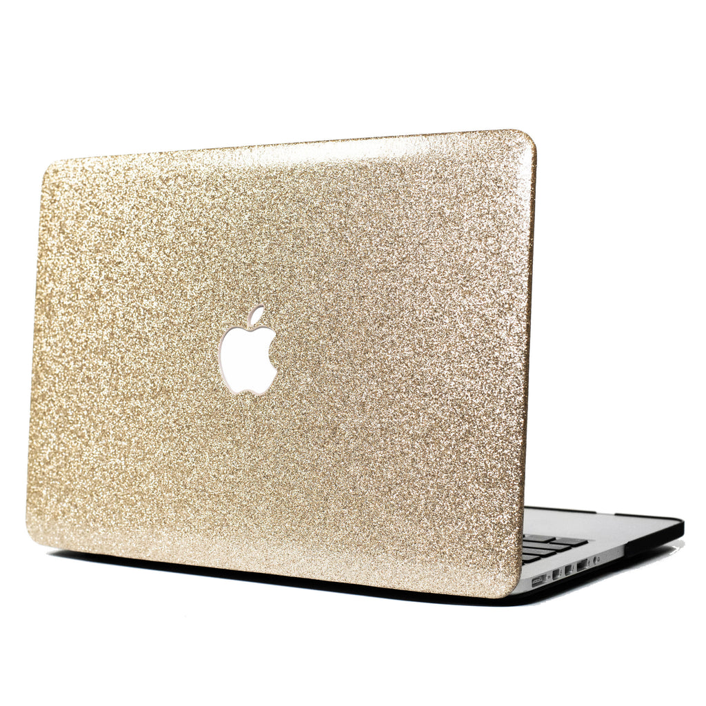Champange Gold Glitter Print Leather Touch MacBook Case