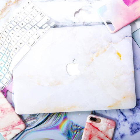 White X Gold Alabaster Marble MacBook Pro Case