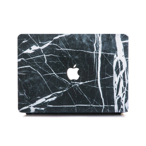 Black X White Right Split Marble MacBook Pro Case