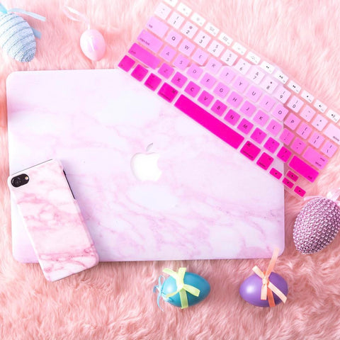 Pink x White Marble MacBook Pro Case