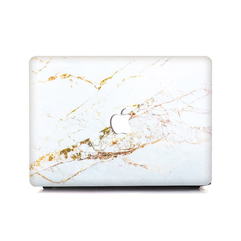 White X Gold Splash Marble MacBook Pro Case