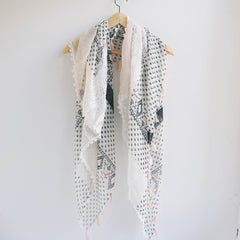 Bohemian Square Lace Scarf with Tassels - Bulan Design  - 20