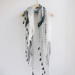 Bohemian Square Lace Scarf with Tassels - Bulan Design  - 15